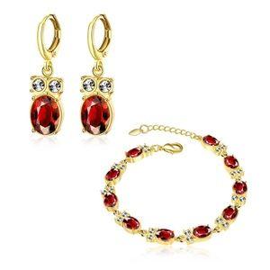 Semi-Precious Red Stone Diamond Accents Earrings